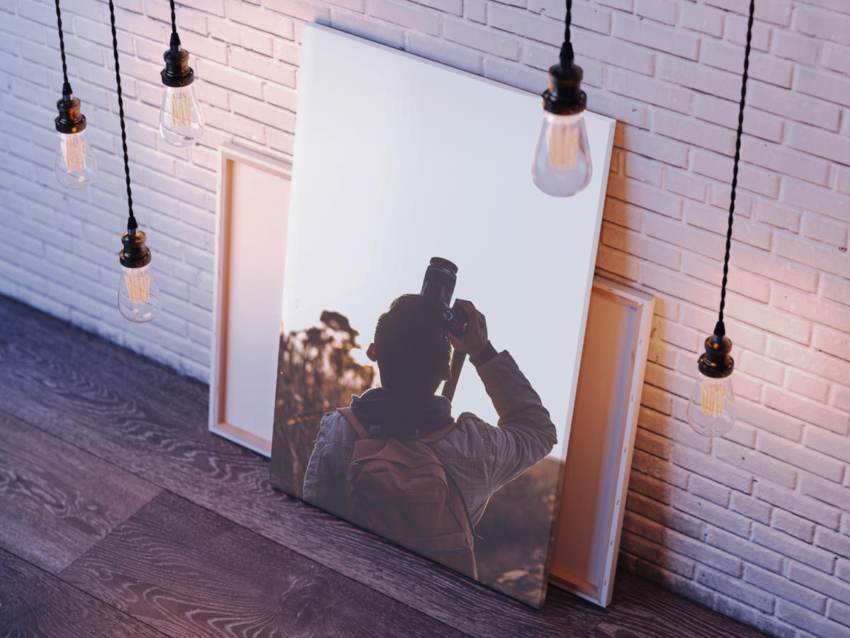 Beautiful photo canvas prints next to brick wall
