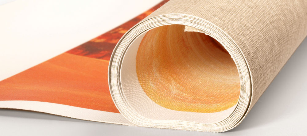 What is rolled canvas print. Canvas roll close up.