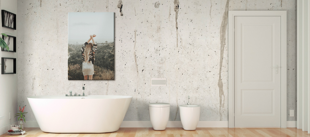 Can you put canvas in the bathroom? Photo canvas with girl next to bath in spacious bathroom.