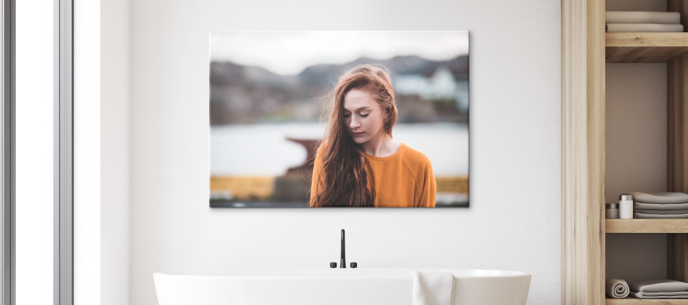 Can you put canvas in the bathroom? Girl on photo canvas in bathroom.