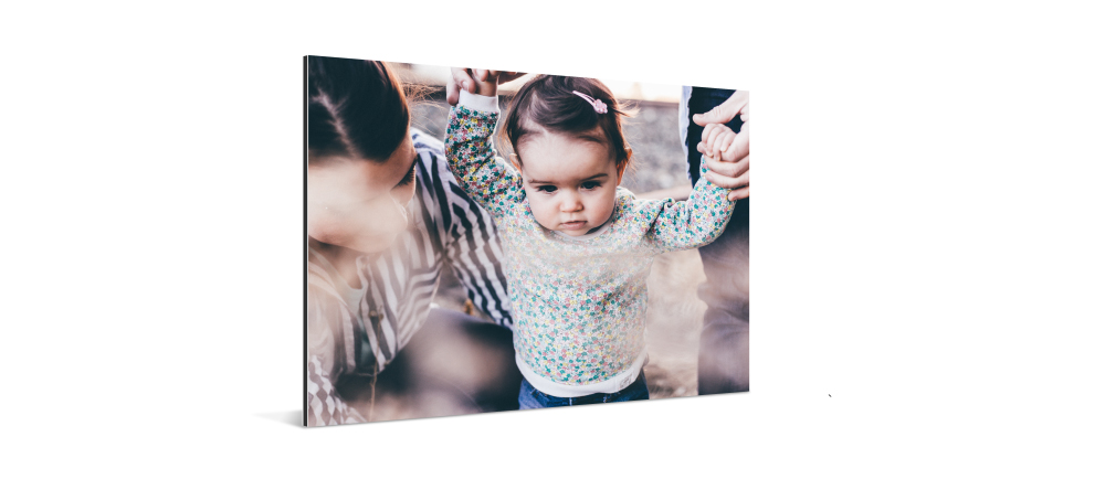 What is a metal print? Photo of baby printed on aluminum composite panel.