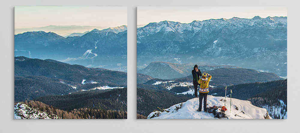 Do cheap canvas prints mean bad canvas prints. Canvas collage with photos of snowy mountains.