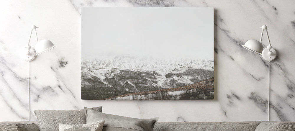Do cheap canvas prints mean bad canvas prints. Canvas print with snowy mountains.