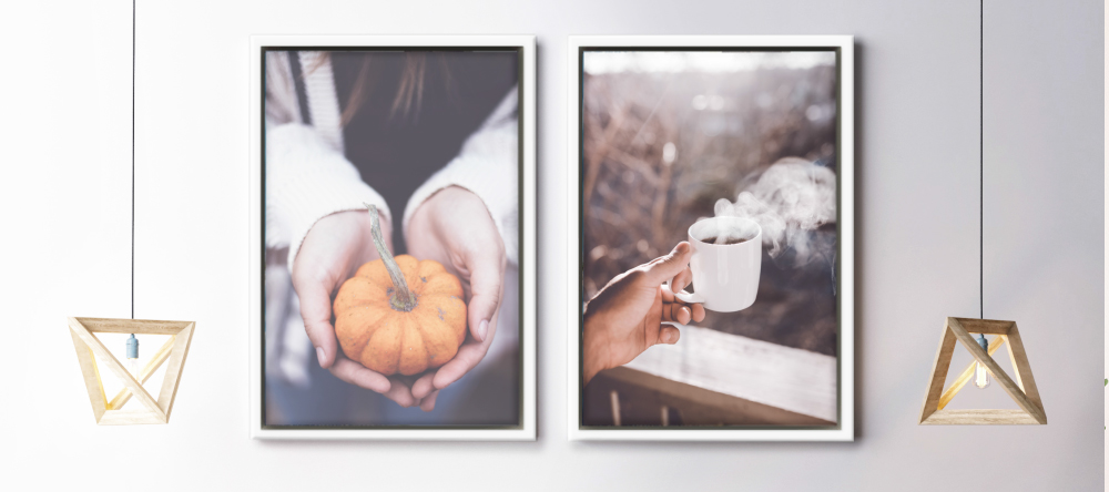 How much does it cost to get canvas framed. Framed canvas prints with pumpkin and coffee mug.