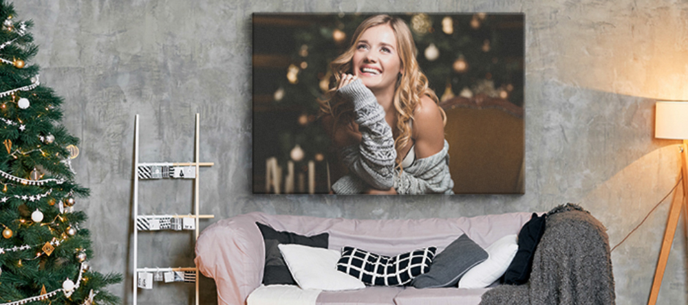 Christmas Canvas Prints. Canvas print with smiling woman.