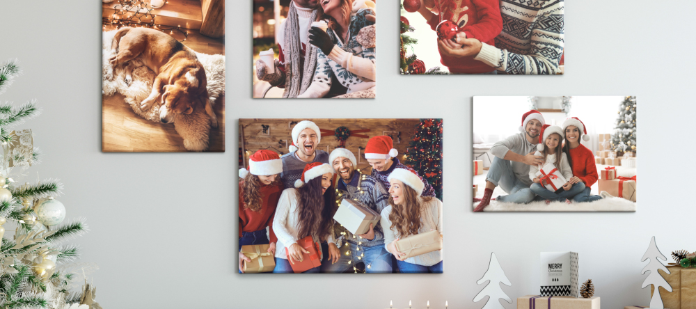 Photo Canvas for Christmas. Multiple Christmas canvas prints on wall.