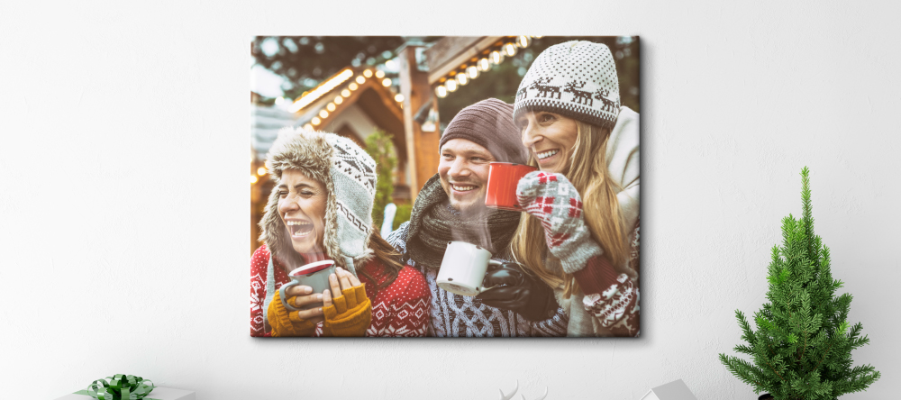 Photo Canvas for Christmas. Photo canvas print with friends.