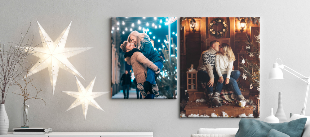 Photo Canvas for Christmas. Two photo canvas prints with couples.