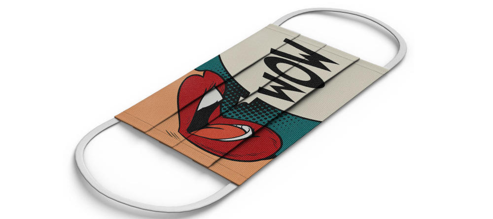 Where to Buy Custom Face Masks Online. Personalized face mask with colorful print.