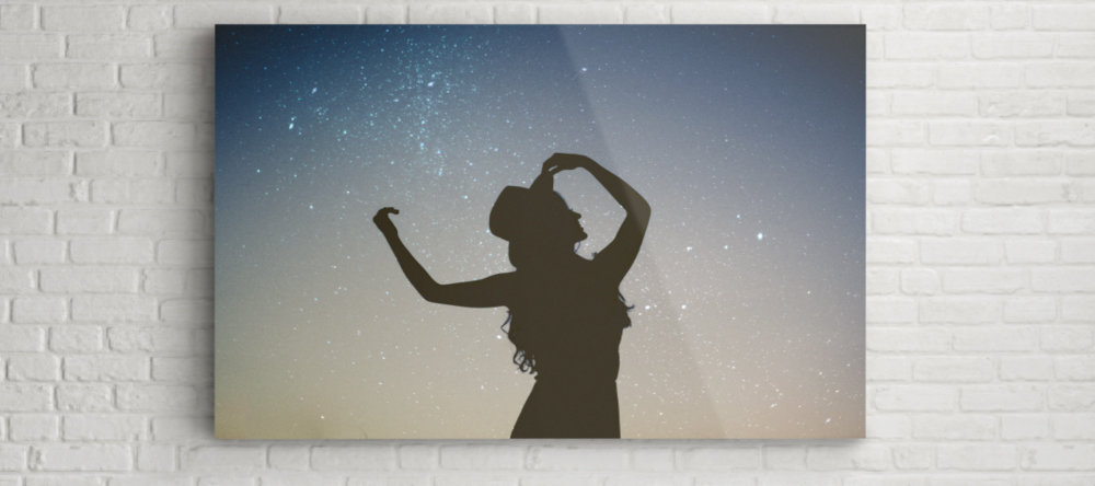 turning photos into acrylic prints silhouette of a girl