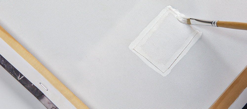 How to fix a ripped canvas. Canvas patch with glue.