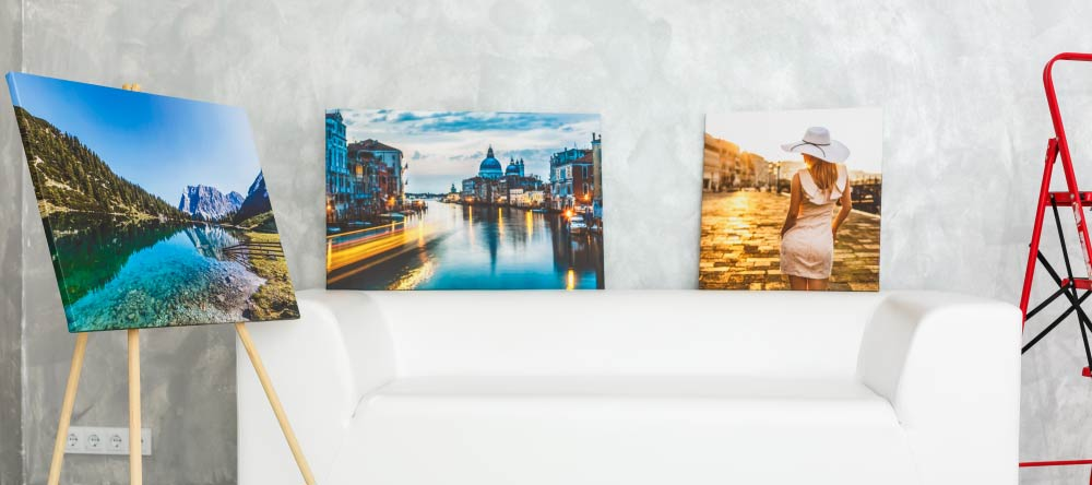 How to make canvas prints. Three beautiful canvas prints on display.