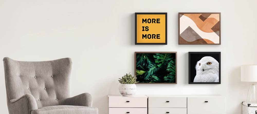 How to frame canvas prints. Gallery wall with multiple edgy canvas prints.