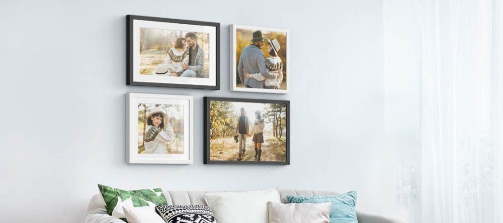 How to frame canvas prints. Gallery wall with framed photo prints.