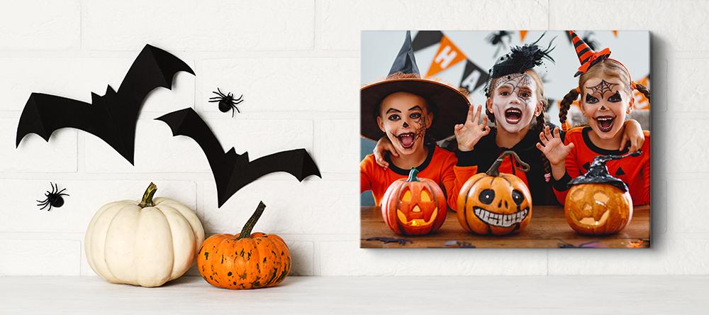 Halloween canvas art. Kids dressed in Halloween attire on photo canvas print.
