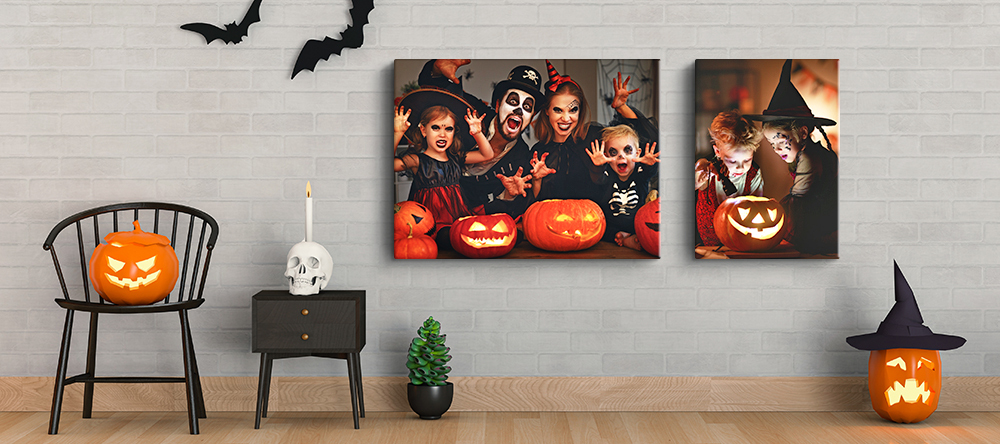 Halloween Canvas Art. Halloween home decoration and photo canvas print of a family.