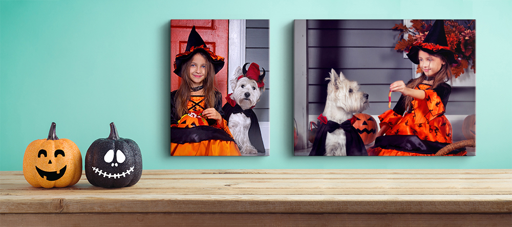 Halloween Canvas Art. Family Halloween photoshoot with pets.