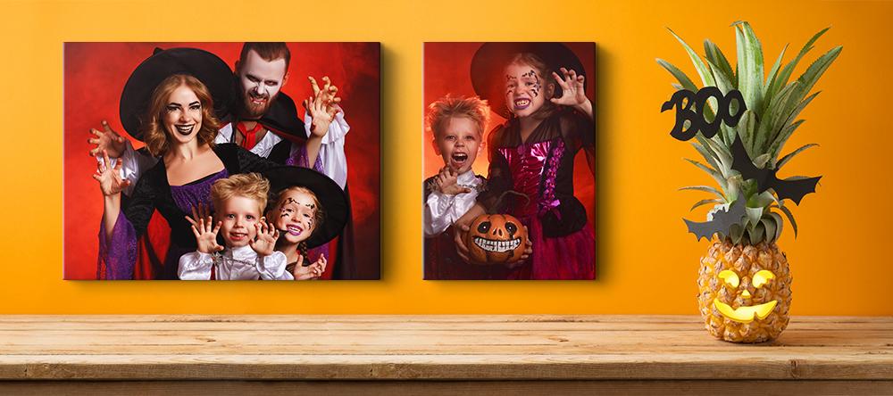 Halloween canvas art. Funny family Halloween photoshoot.