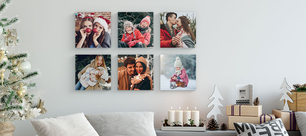 Custom Christmas Gifts on a Budget. MIXPIX® photo tiles with Christmas motifs.