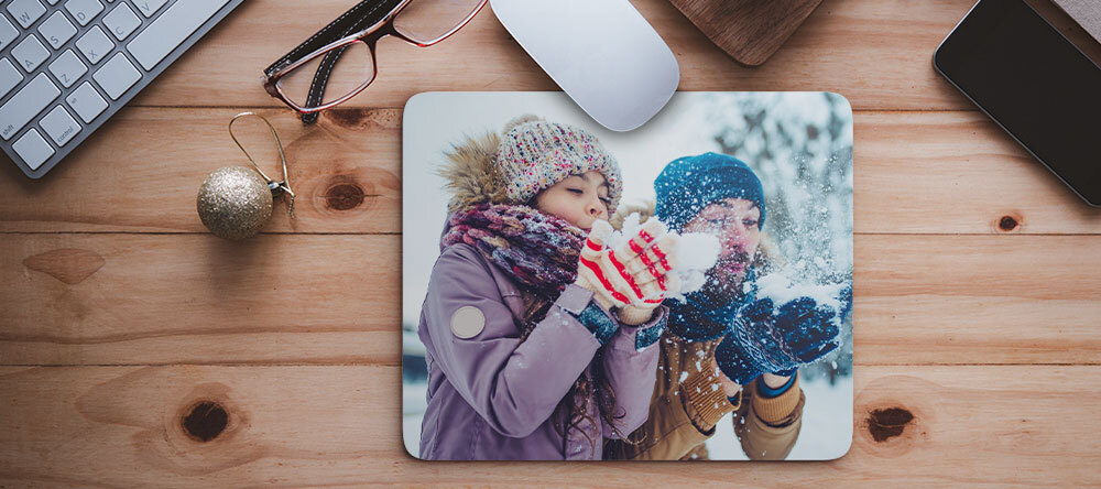 Custom Christmas Gifts on a Budget. Beautiful personalized mouse pad with photo.