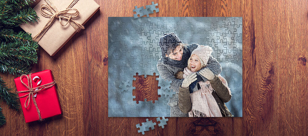 Custom Christmas Gifts on a Budget. Beautiful personalized puzzle with photo of couple.