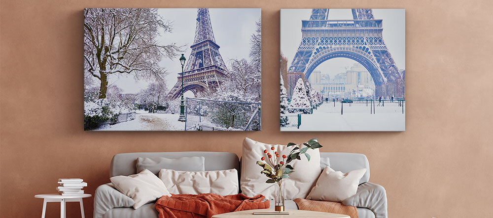 Your Essential Guide to Christmas Canvas Ideas. Eiffel Tower in winter canvas print.