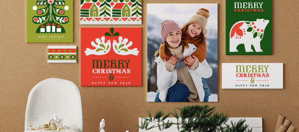 Your Essential Guide to Christmas Canvas Ideas. Colorful Christmas Canvas prints displayed on wall.