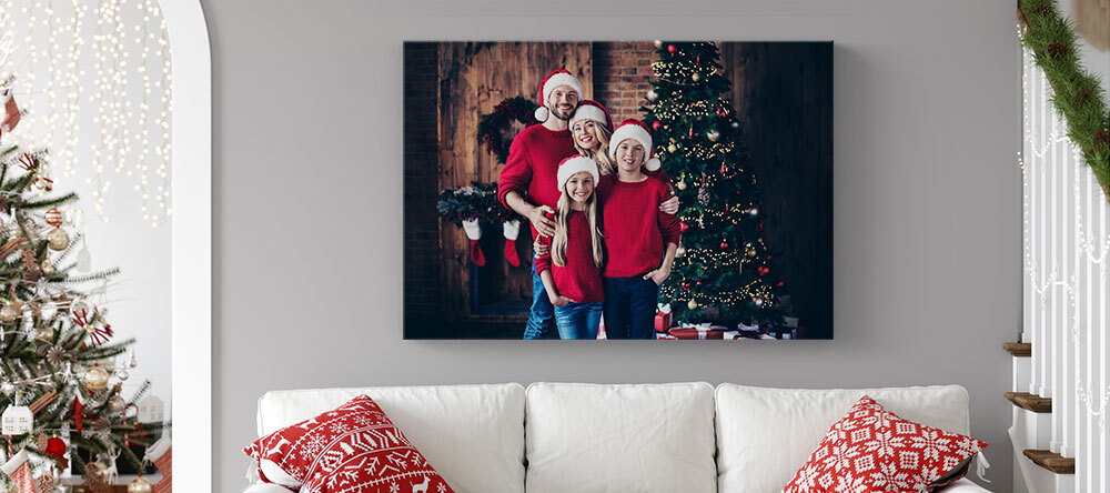Your Essential Guide to Christmas Canvas Ideas. Family photo printed on Canvas.