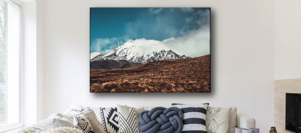 The Pros & Cons of Canvas Printing. Large photo canvas print showing beautiful mountain terrain.