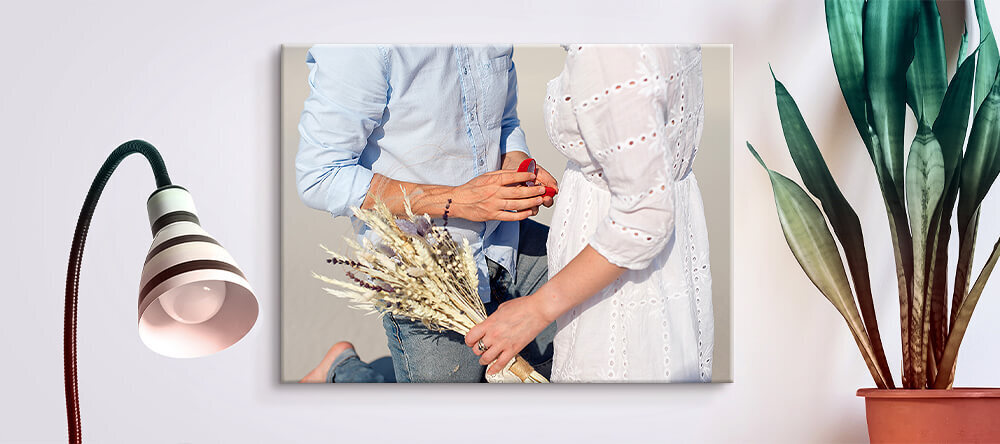 Romantic Canvas Prints: How to Choose the Best Photos. Photo Canvas Print of Man Proposing Woman.