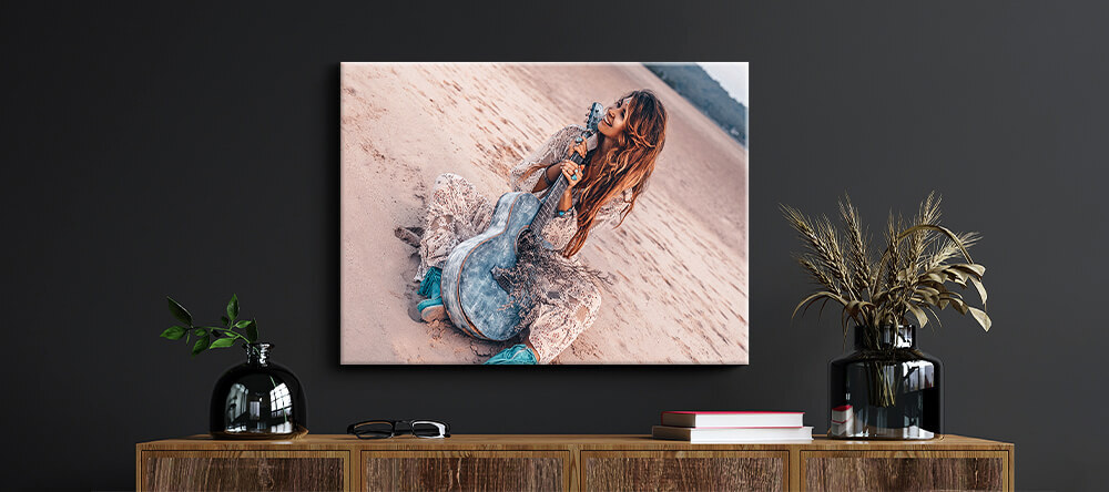Romantic Canvas Prints: How to Choose the Best Photos. Photo canvas print with lady and guitar.