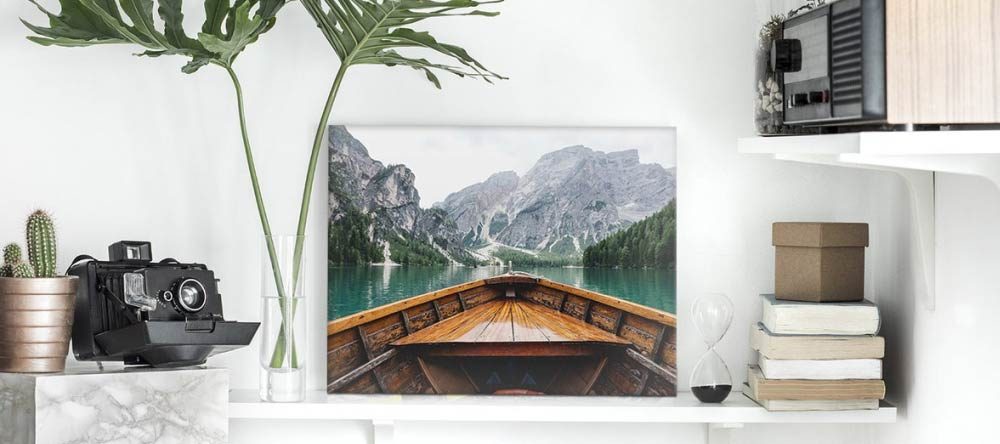 The Best Canvas Prints: How to Find Them. Beautiful photo canvas print on shelf.