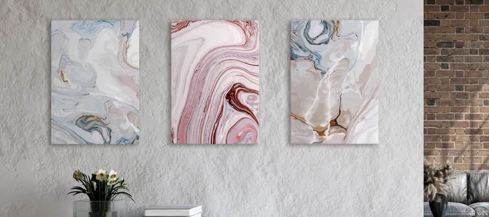 Custom-Made Canvases: 10 Myths Debunked. Three beautiful canvas prints displayed on gallery wall.
