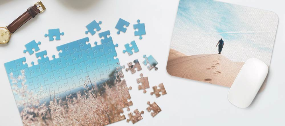 Best Ideas for Canvas Wall Art. Photo mouse pad next to personalized photo puzzle.