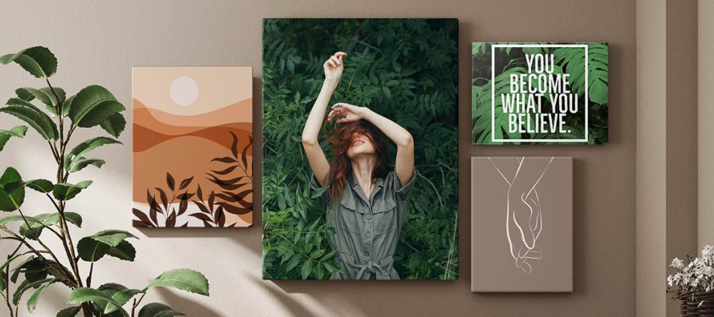 Best Ideas for Canvas Wall Art. Wall displays gallery of multiple canvas prints.