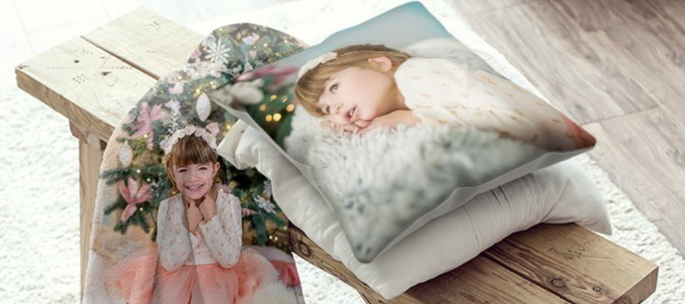 Photo gifts for her. Personalised photo cushion and blanket.