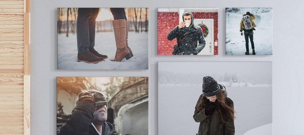 Photo gifts for her. Multiple photo canvas on wall.