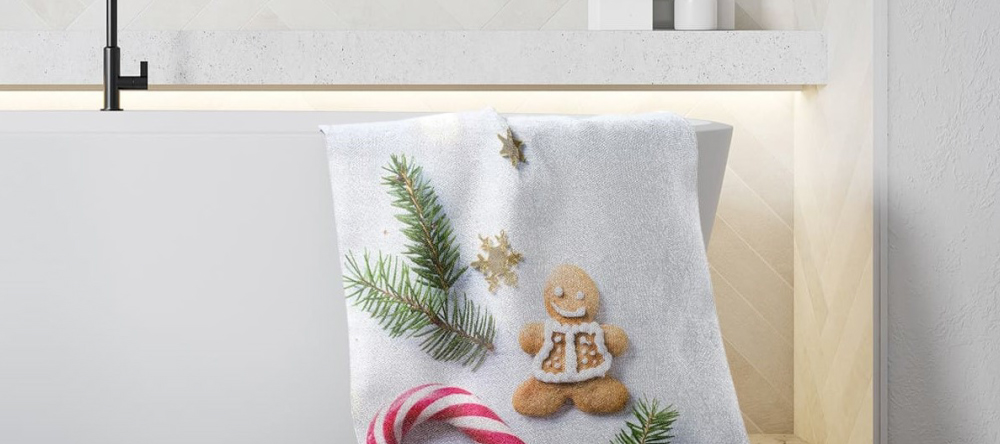 Unique Christmas Gifts for Him. personalized towel on bathtub.