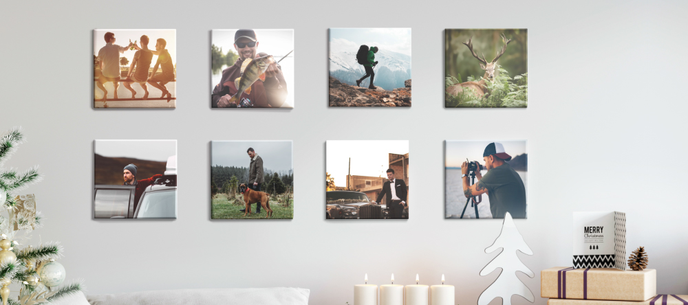 Unique Christmas Gifts for Him. Photo tiles on wall.