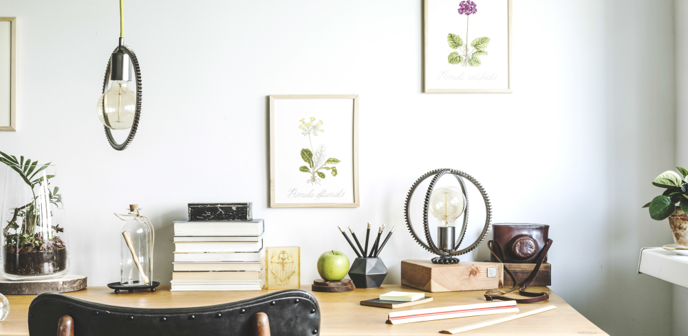 Home Office Ideas for the First-Time Homeworker. Stylish desk in home office.