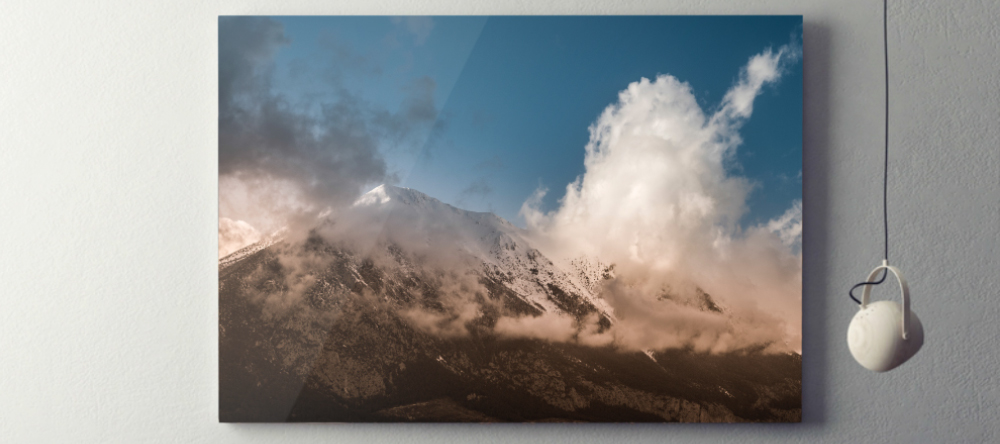 What is an aluminium print? Large format photo metal print with image of mountains.