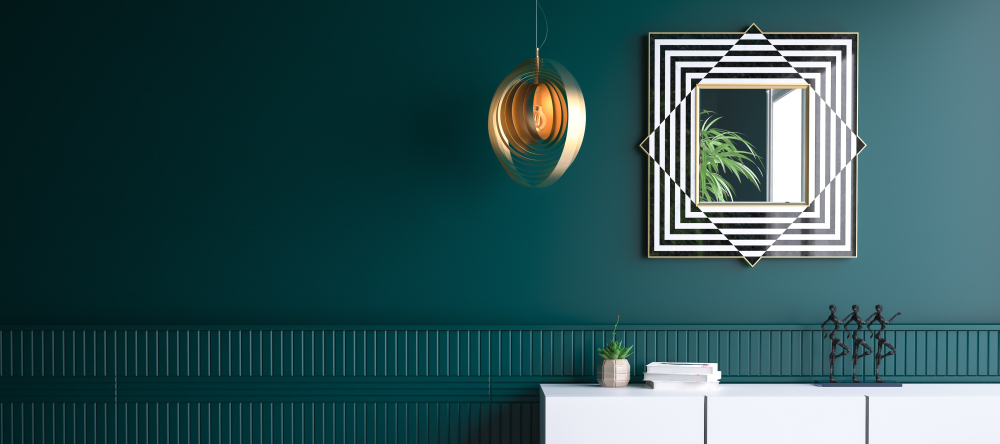 Decor trends for 2021. Hunter green colour for walls.