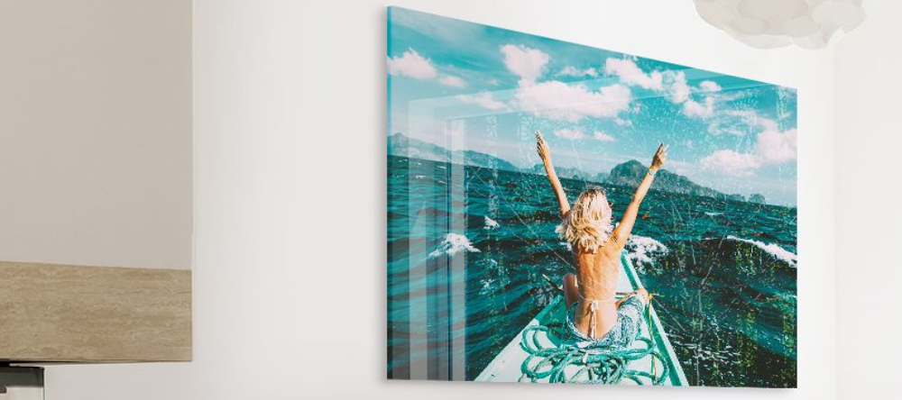 Build Your Business with Acrylic Prints. Beautiful print on acrylic glass featuring woman in swimsuit.