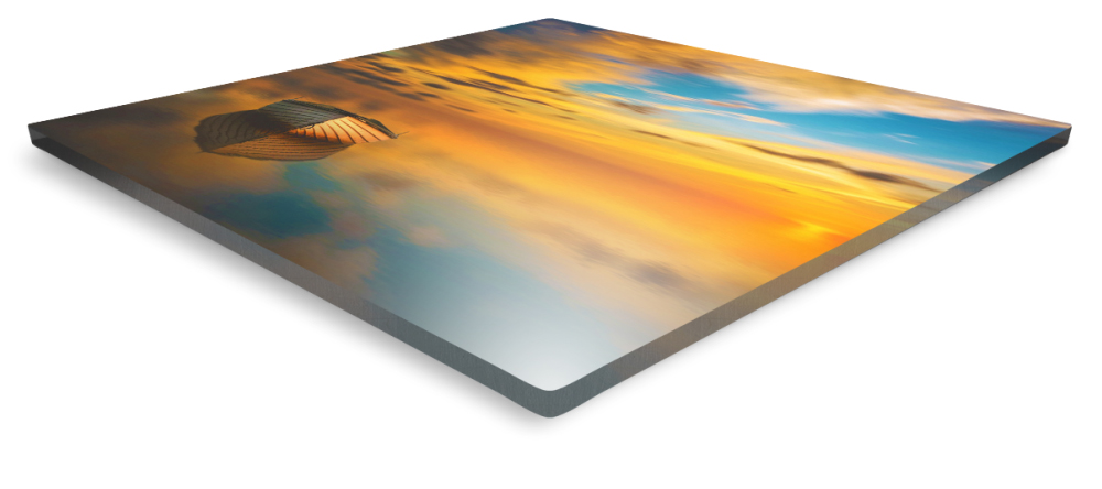 Build Your Business with Acrylic Prints. Close-up side view of acrylic photo print.