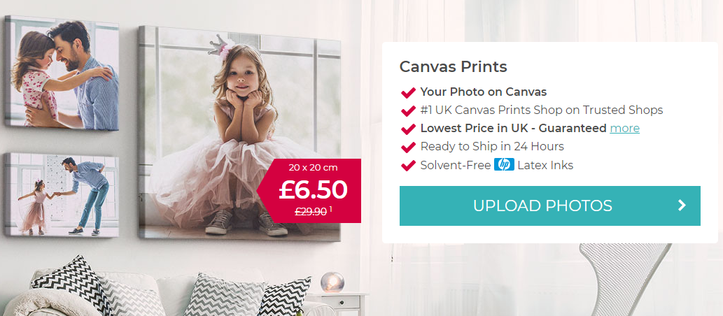 How to make a canvas print from a photo. My-Picture.co.uk online shop page with upload button.