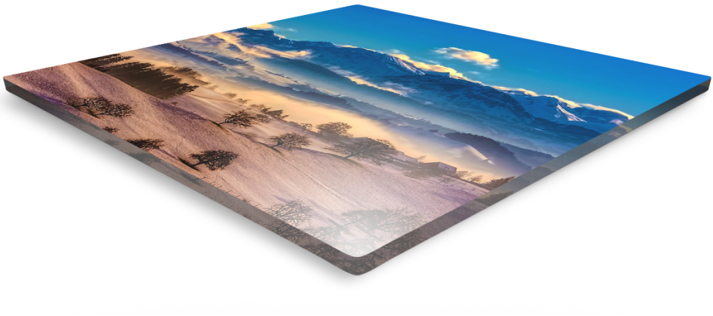 What is an Acrylic Print. Close up of acrylic glass panel with photo print.