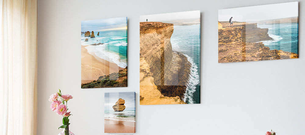 What is an Acrylic Print? Gallery wall with multiple photo acrylic prints.