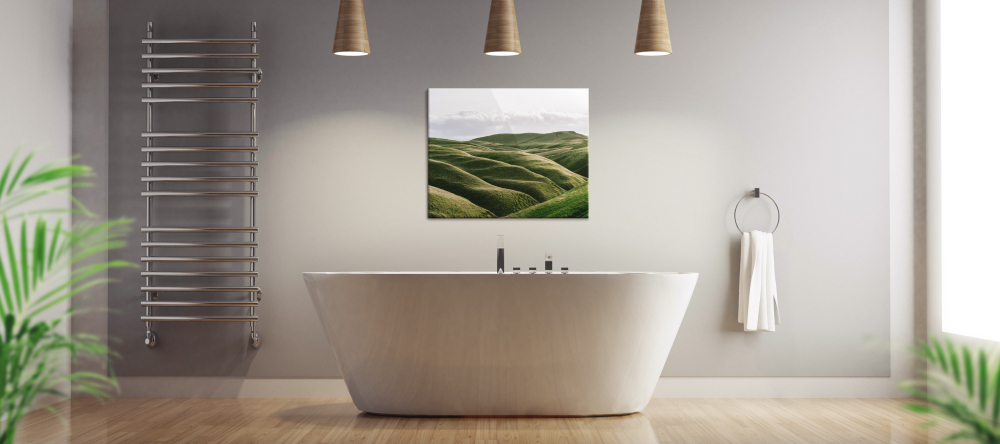 Can You Hang Canvas Prints in a Bathroom? Photo print displayed in contemporary bathroom interior.
