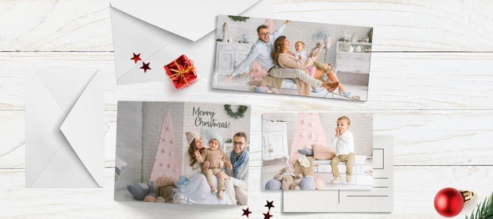 Personalised Photo Christmas Cards. Beautiful Christmas photo cards on table.