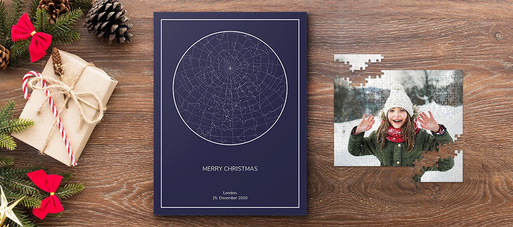Photo Christmas Gift Finder: Custom Prints to Suit Everyone. Personalised star map.